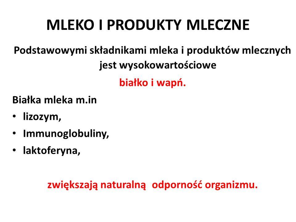 MLEKO I PRODUKTY MLECZNE Podstawowymi składnikami mleka i produktów mlecznych jest wysokowartościowe białko i wapń. Białka mleka m.in lizozym, Immunog