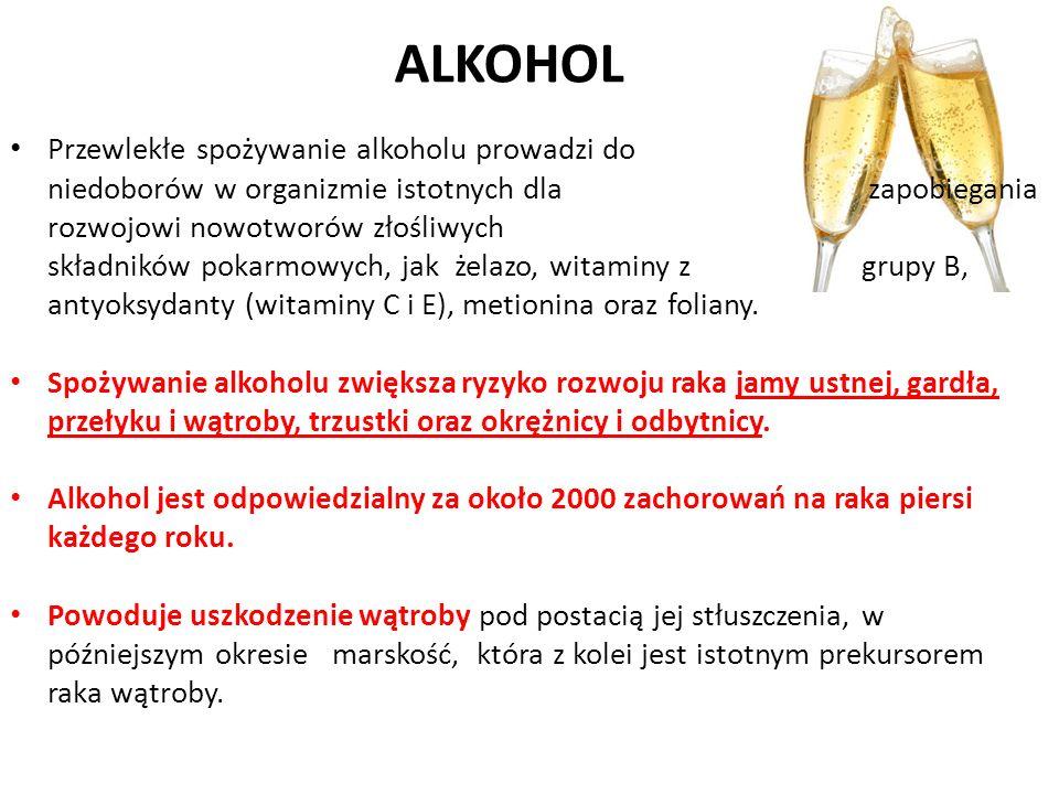 ALKOHOL Przewlekłe spożywanie alkoholu prowadzi do niedoborów w organizmie istotnych dla zapobiegania rozwojowi nowotworów złośliwych składników pokar