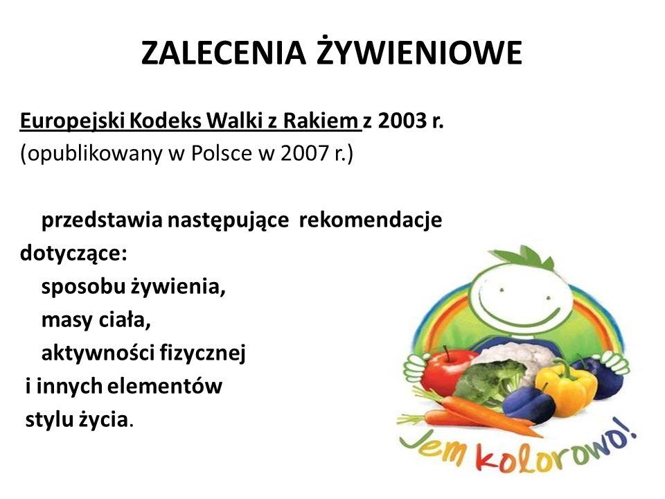 ZALECENIA ŻYWIENIOWE Europejski Kodeks Walki z Rakiem z 2003 r. (opublikowany w Polsce w 2007 r.) przedstawia następujące rekomendacje dotyczące: spos