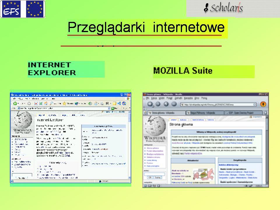 Chyba najczęściej używaną przeglądarką internetową jest INTERNET EXPLORER, bo jest ona domyślnie instalowana w wiodącym na rynku polskim oprogramowaniu firmy Microsoft (systemy Windows).