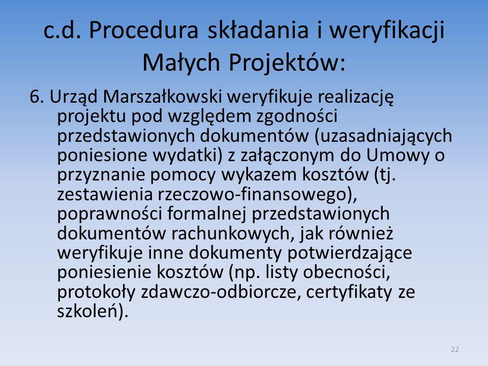 c.d. Procedura składania i weryfikacji Małych Projektów: 6. Urząd Marszałkowski weryfikuje realizację projektu pod względem zgodności przedstawionych