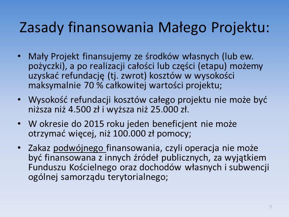 Zasady finansowania Małego Projektu: Mały Projekt finansujemy ze środków własnych (lub ew. pożyczki), a po realizacji całości lub części (etapu) możem