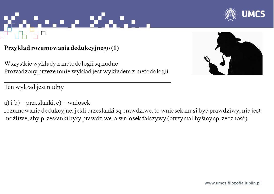 Rozumowanie dedukcyjne: Falsyfikacja (modus tollens) rozumowanie dedukcyjne Konfirmacja (nie jest to dowód prawdziwości H, ale świadectwo na rzecz H – częściowe potwierdzenie, nie jest to rozumowanie dedukcyjne) www.umcs.filozofia.lublin.pl