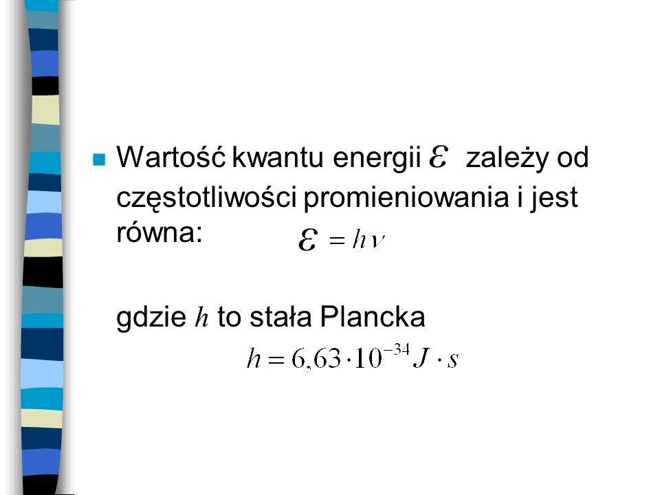 Wartość kwantu energii ε zależy od częstotliwości promieniowania i jest równa: gdzie h to stała Plancka ε