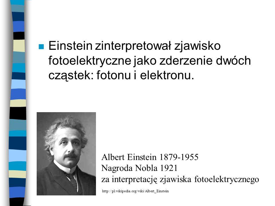 n Einstein zinterpretował zjawisko fotoelektryczne jako zderzenie dwóch cząstek: fotonu i elektronu. Albert Einstein 1879-1955 Nagroda Nobla 1921 za i