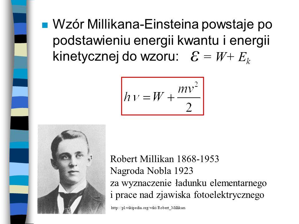 Wzór Millikana-Einsteina powstaje po podstawieniu energii kwantu i energii kinetycznej do wzoru: Robert Millikan 1868-1953 Nagroda Nobla 1923 za wyzna
