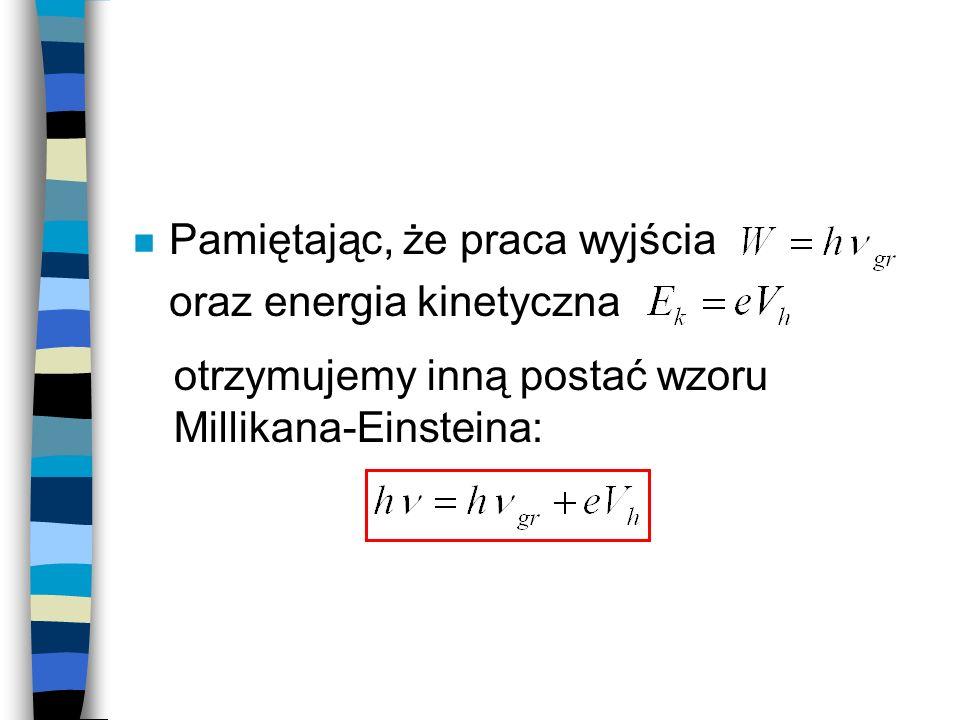 Pamiętając, że praca wyjścia oraz energia kinetyczna otrzymujemy inną postać wzoru Millikana-Einsteina: