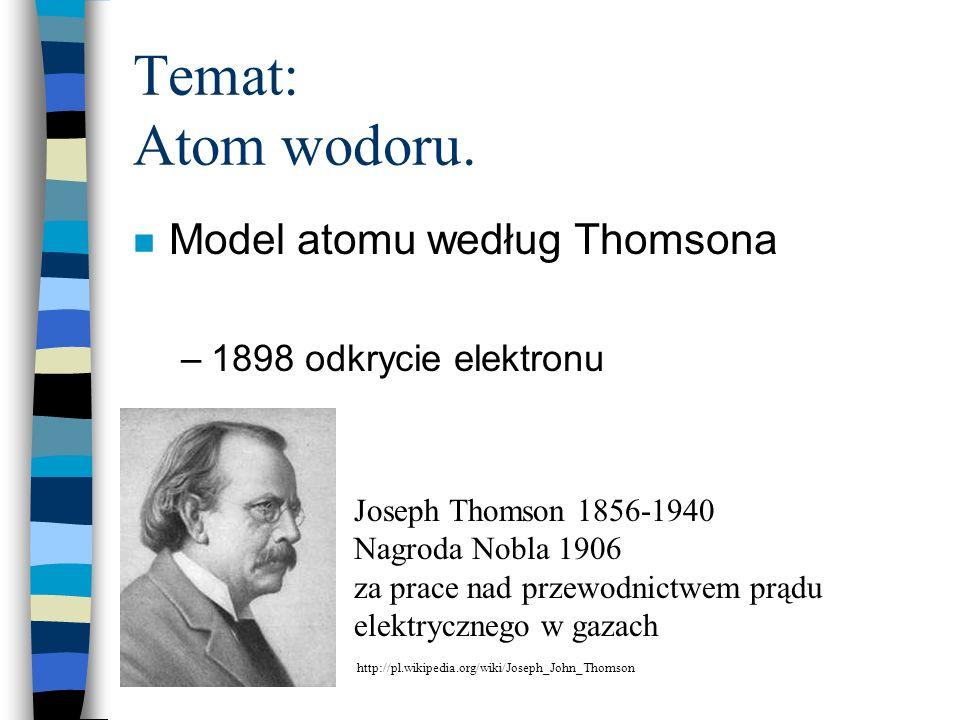 Temat: Atom wodoru. n Model atomu według Thomsona –1898 odkrycie elektronu Joseph Thomson 1856-1940 Nagroda Nobla 1906 za prace nad przewodnictwem prą