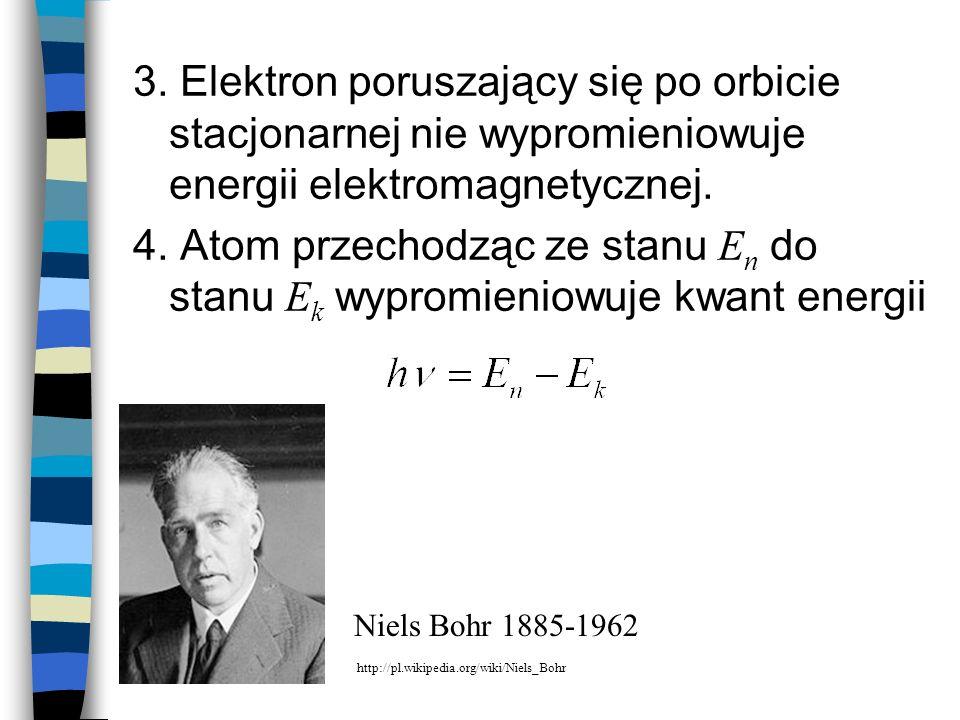 3. Elektron poruszający się po orbicie stacjonarnej nie wypromieniowuje energii elektromagnetycznej. 4. Atom przechodząc ze stanu E n do stanu E k wyp