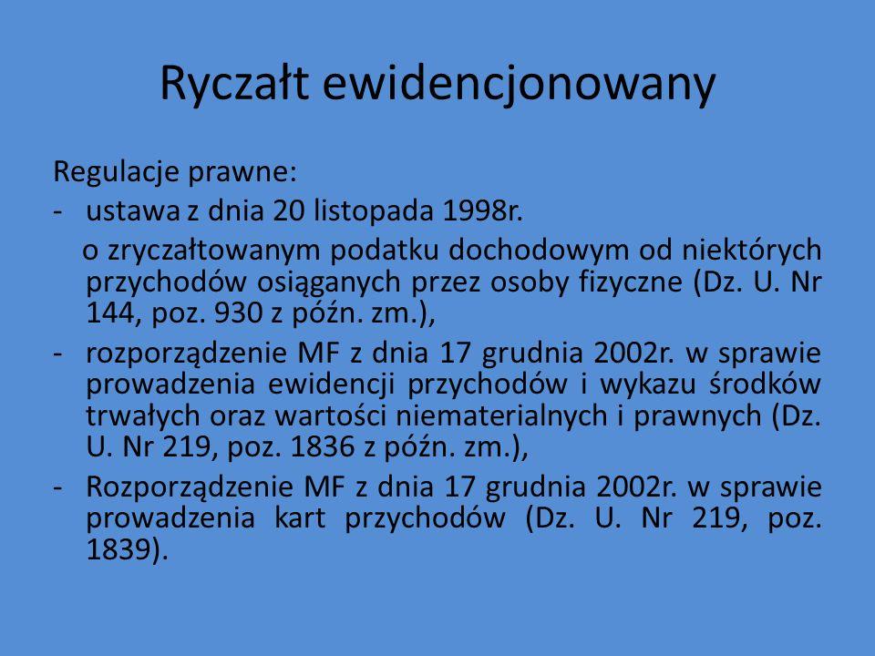 Ryczałt ewidencjonowany Regulacje prawne: -ustawa z dnia 20 listopada 1998r.