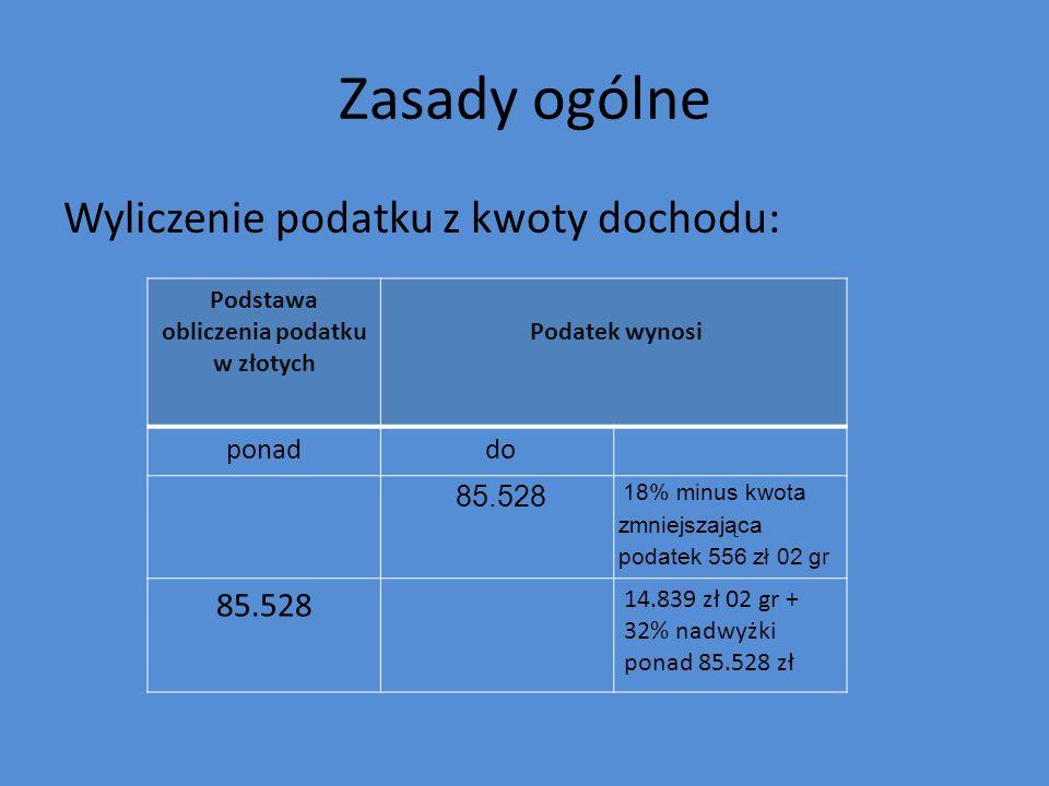Zasady ogólne Wyliczenie podatku z kwoty dochodu: Podstawa obliczenia podatku w złotych Podatek wynosi ponad do 85.528 18% minus kwota zmniejszająca p