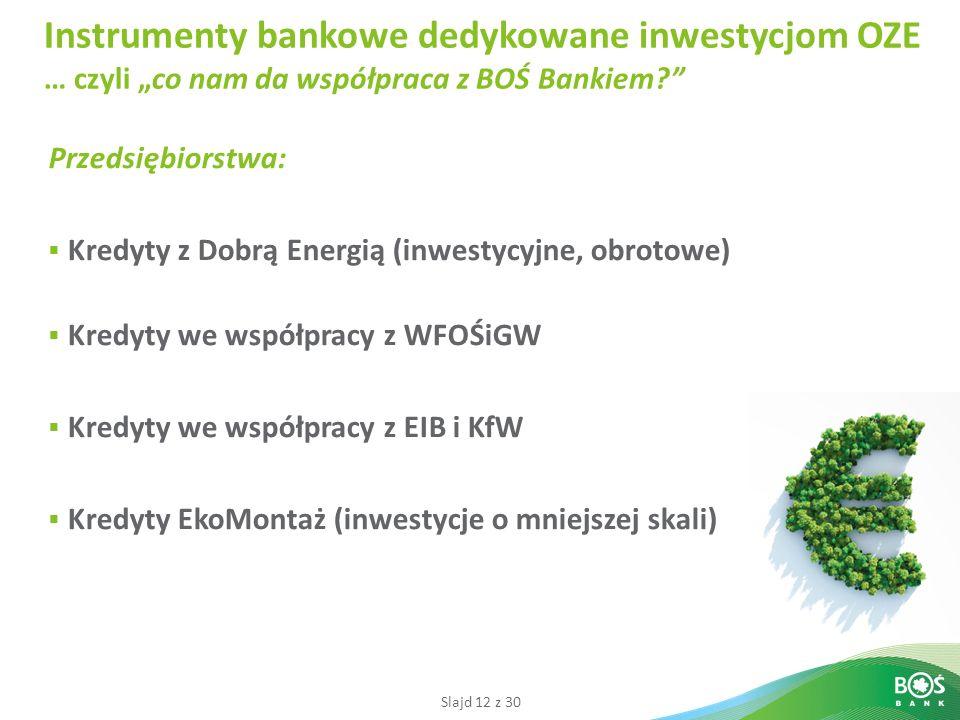 Slajd 12 z 30 Instrumenty bankowe dedykowane inwestycjom OZE … czyli co nam da współpraca z BOŚ Bankiem.