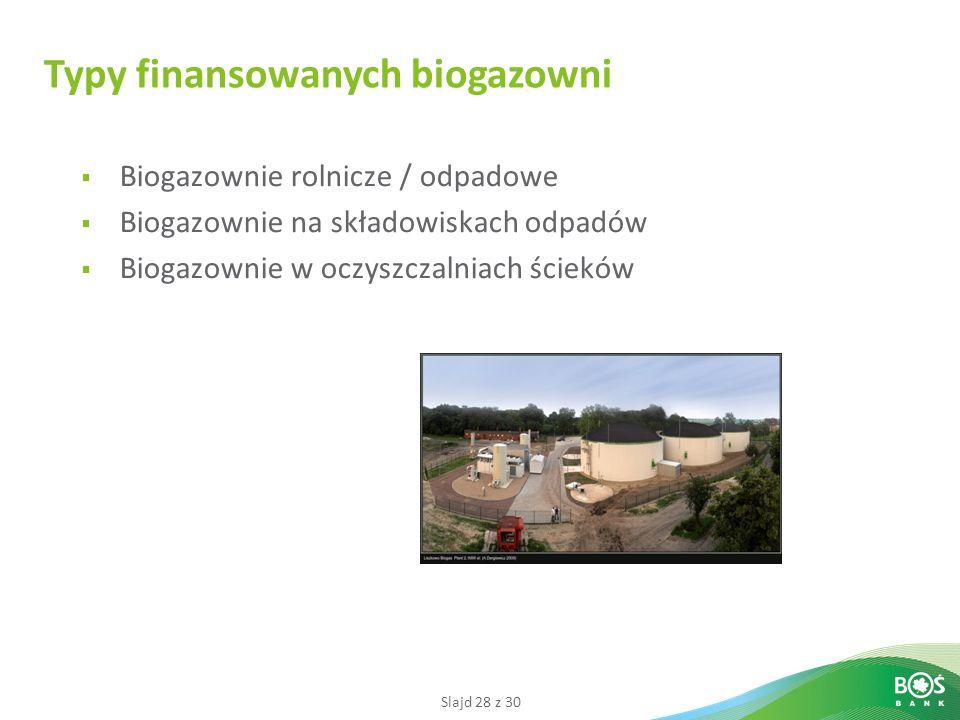 Slajd 28 z 30 Biogazownie rolnicze / odpadowe Biogazownie na składowiskach odpadów Biogazownie w oczyszczalniach ścieków Typy finansowanych biogazowni