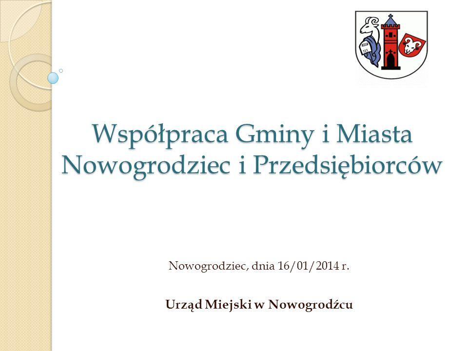 Współpraca Gminy i Miasta Nowogrodziec i Przedsiębiorców Nowogrodziec, dnia 16/01/2014 r. Urząd Miejski w Nowogrodźcu