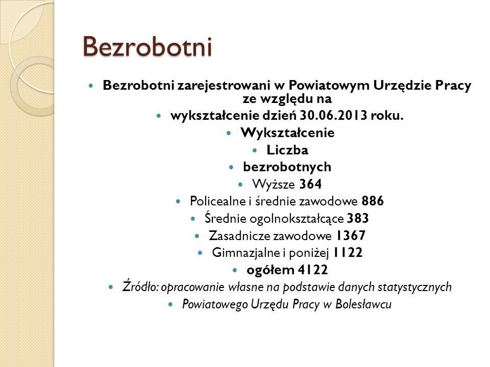 Bezrobotni Bezrobotni zarejestrowani w Powiatowym Urzędzie Pracy ze względu na wykształcenie dzień 30.06.2013 roku. Wykształcenie Liczba bezrobotnych