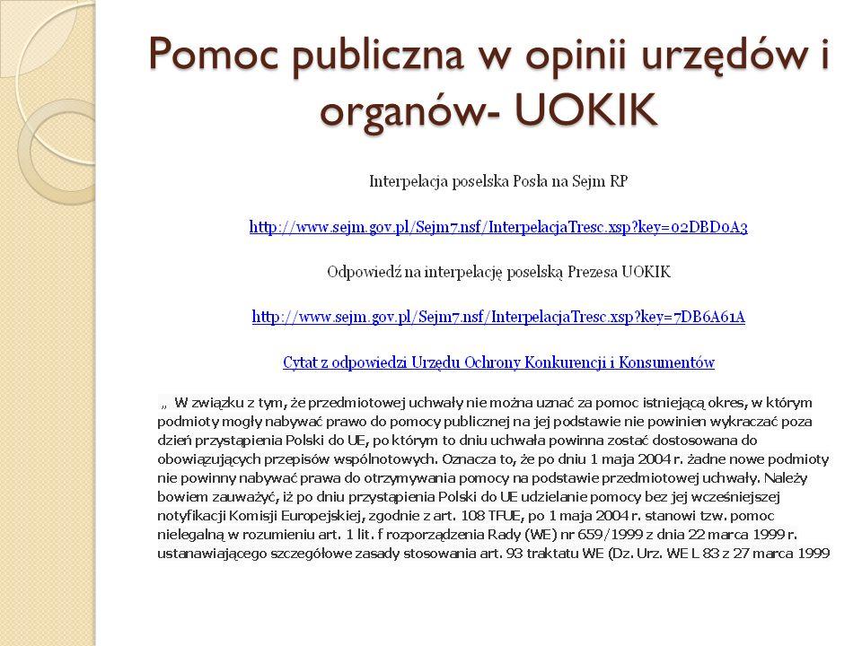 Pomoc publiczna w opinii urzędów i organów- UOKIK