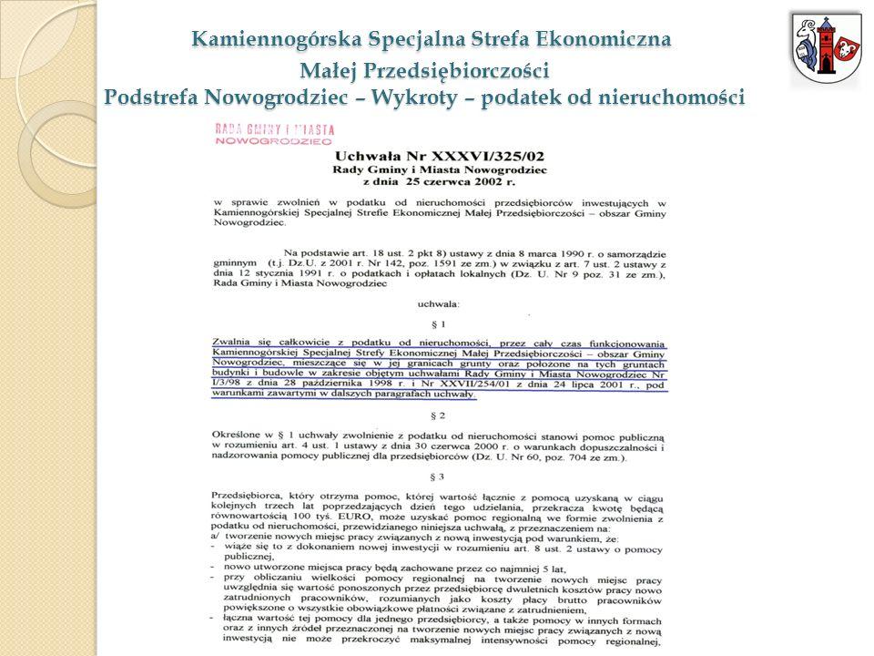 Kamiennogórska Specjalna Strefa Ekonomiczna Małej Przedsiębiorczości Podstrefa Nowogrodziec – Wykroty – podatek od nieruchomości Kamiennogórska Specja