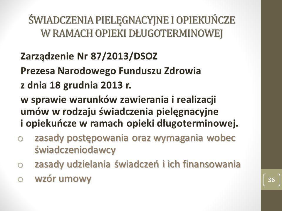 ŚWIADCZENIA PIELĘGNACYJNE I OPIEKUŃCZE W RAMACH OPIEKI DŁUGOTERMINOWEJ Zarządzenie Nr 87/2013/DSOZ Prezesa Narodowego Funduszu Zdrowia z dnia 18 grudn