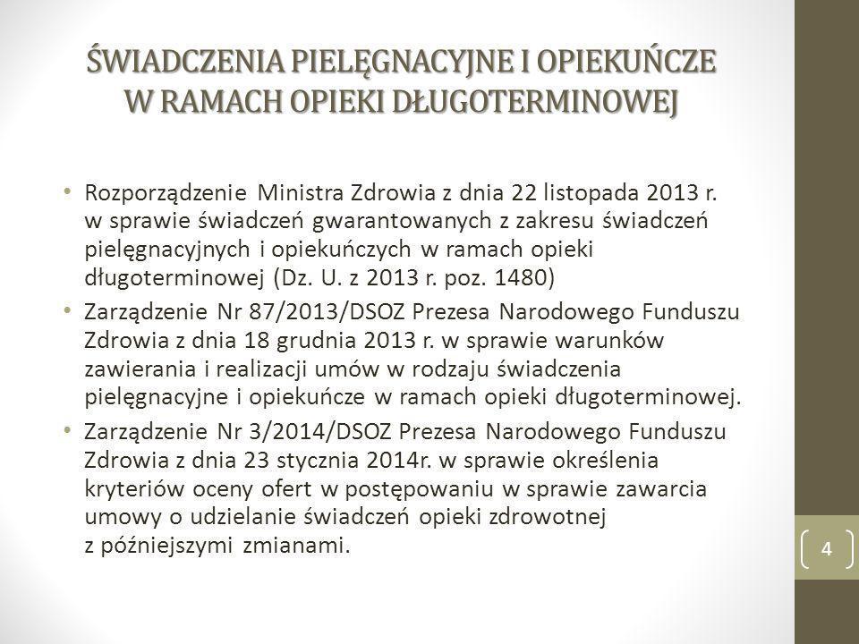 ŚWIADCZENIA PIELĘGNACYJNE I OPIEKUŃCZE W RAMACH OPIEKI DŁUGOTERMINOWEJ Rozporządzenie Ministra Zdrowia z dnia 22 listopada 2013 r. w sprawie świadczeń