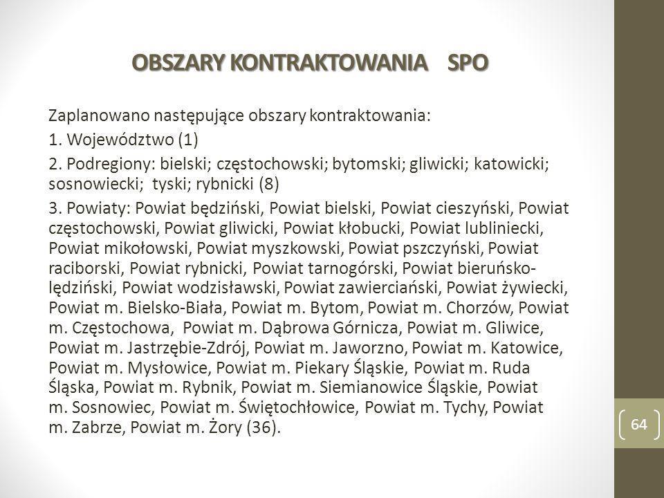 OBSZARY KONTRAKTOWANIA SPO Zaplanowano następujące obszary kontraktowania: 1. Województwo (1) 2. Podregiony: bielski; częstochowski; bytomski; gliwick