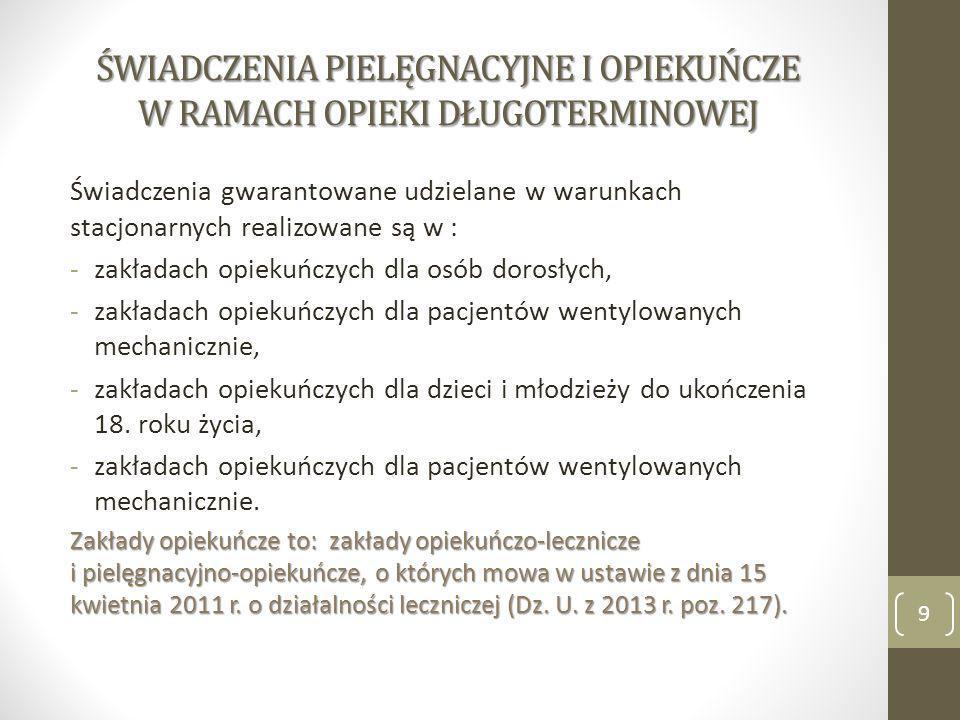 ŚWIADCZENIA PIELĘGNACYJNE I OPIEKUŃCZE W RAMACH OPIEKI DŁUGOTERMINOWEJ Świadczenia gwarantowane udzielane w warunkach stacjonarnych realizowane są w :