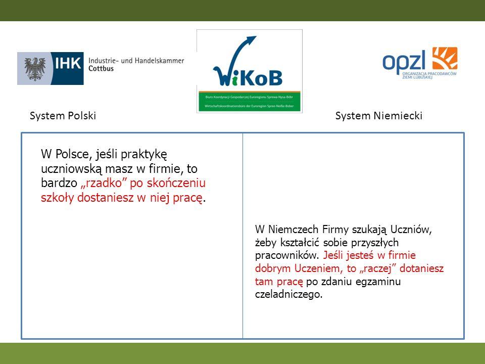 W Polsce, jeśli praktykę uczniowską masz w firmie, to bardzo rzadko po skończeniu szkoły dostaniesz w niej pracę. System PolskiSystem Niemiecki W Niem