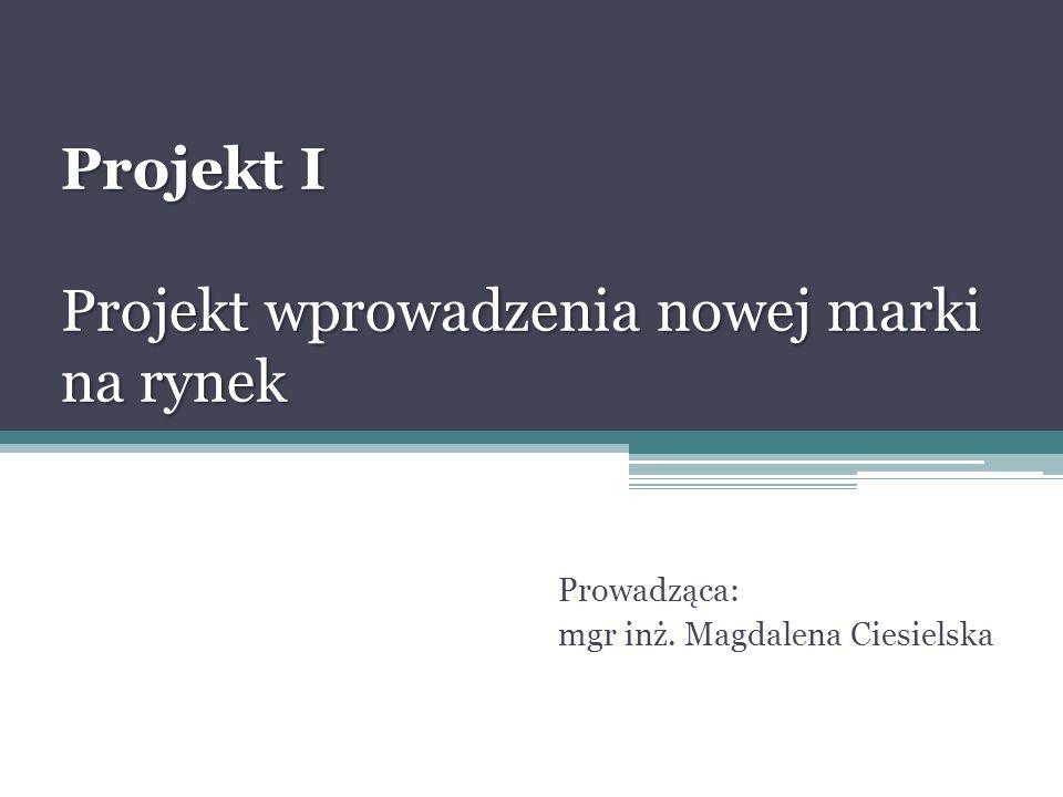 Projekt I Projekt wprowadzenia nowej marki na rynek Prowadząca: mgr inż. Magdalena Ciesielska