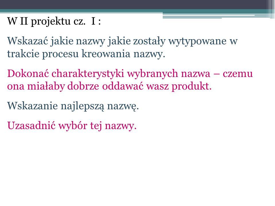 W II projektu cz. I : Wskazać jakie nazwy jakie zostały wytypowane w trakcie procesu kreowania nazwy. Dokonać charakterystyki wybranych nazwa – czemu
