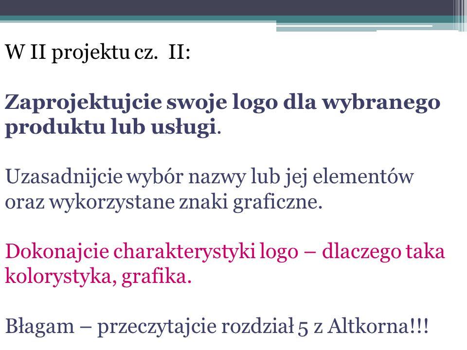 W II projektu cz. II: Zaprojektujcie swoje logo dla wybranego produktu lub usługi. Uzasadnijcie wybór nazwy lub jej elementów oraz wykorzystane znaki
