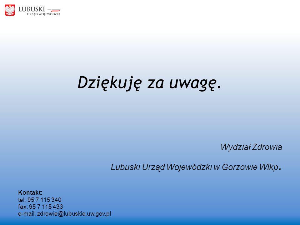 Dziękuję za uwagę. Wydział Zdrowia Lubuski Urząd Wojewódzki w Gorzowie Wlkp. Kontakt: tel. 95 7 115 340 fax. 95 7 115 433 e-mail: zdrowie@lubuskie.uw.