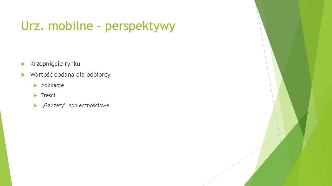 Urz. mobilne – perspektywy Krzepnięcie rynku Wartość dodana dla odbiorcy Aplikacje Treści Gadżety społecznościowe