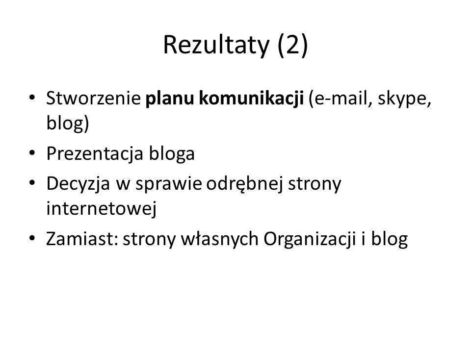 Rezultaty (2) Stworzenie planu komunikacji (e-mail, skype, blog) Prezentacja bloga Decyzja w sprawie odrębnej strony internetowej Zamiast: strony własnych Organizacji i blog