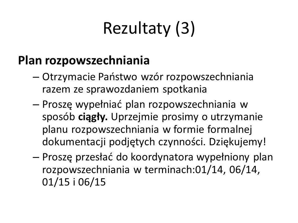 Rezultaty (3) Plan rozpowszechniania – Otrzymacie Państwo wzór rozpowszechniania razem ze sprawozdaniem spotkania – Proszę wypełniać plan rozpowszechniania w sposób ciągły.