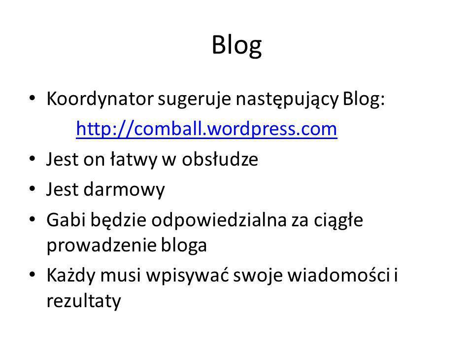 Blog Koordynator sugeruje następujący Blog: http://comball.wordpress.com Jest on łatwy w obsłudze Jest darmowy Gabi będzie odpowiedzialna za ciągłe prowadzenie bloga Każdy musi wpisywać swoje wiadomości i rezultaty