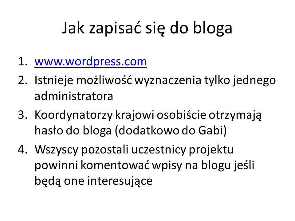 Jak zapisać się do bloga 1.www.wordpress.comwww.wordpress.com 2.Istnieje możliwość wyznaczenia tylko jednego administratora 3.Koordynatorzy krajowi osobiście otrzymają hasło do bloga (dodatkowo do Gabi) 4.Wszyscy pozostali uczestnicy projektu powinni komentować wpisy na blogu jeśli będą one interesujące