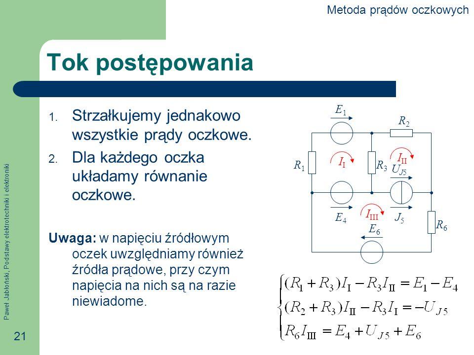 Paweł Jabłoński, Podstawy elektrotechniki i elektroniki 21 Tok postępowania 1.