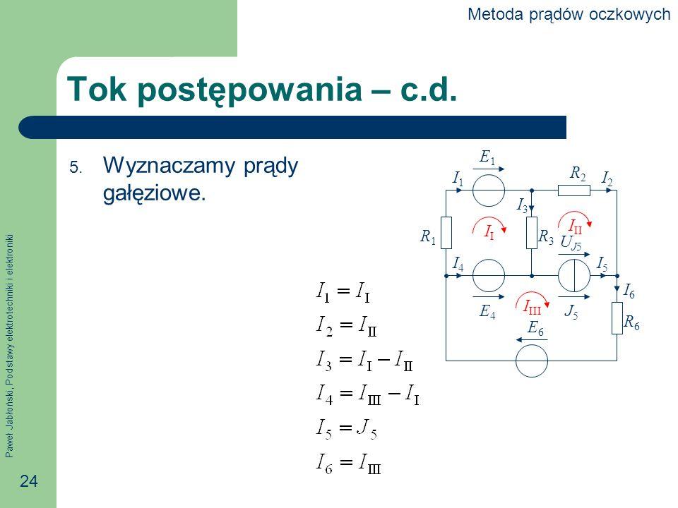 Paweł Jabłoński, Podstawy elektrotechniki i elektroniki 24 Tok postępowania – c.d.