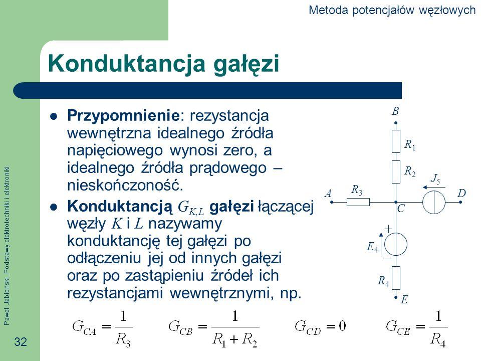 Paweł Jabłoński, Podstawy elektrotechniki i elektroniki 32 Konduktancja gałęzi Przypomnienie: rezystancja wewnętrzna idealnego źródła napięciowego wynosi zero, a idealnego źródła prądowego – nieskończoność.
