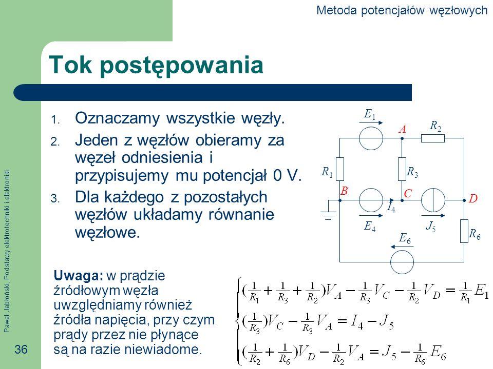 Paweł Jabłoński, Podstawy elektrotechniki i elektroniki 36 Tok postępowania 1.