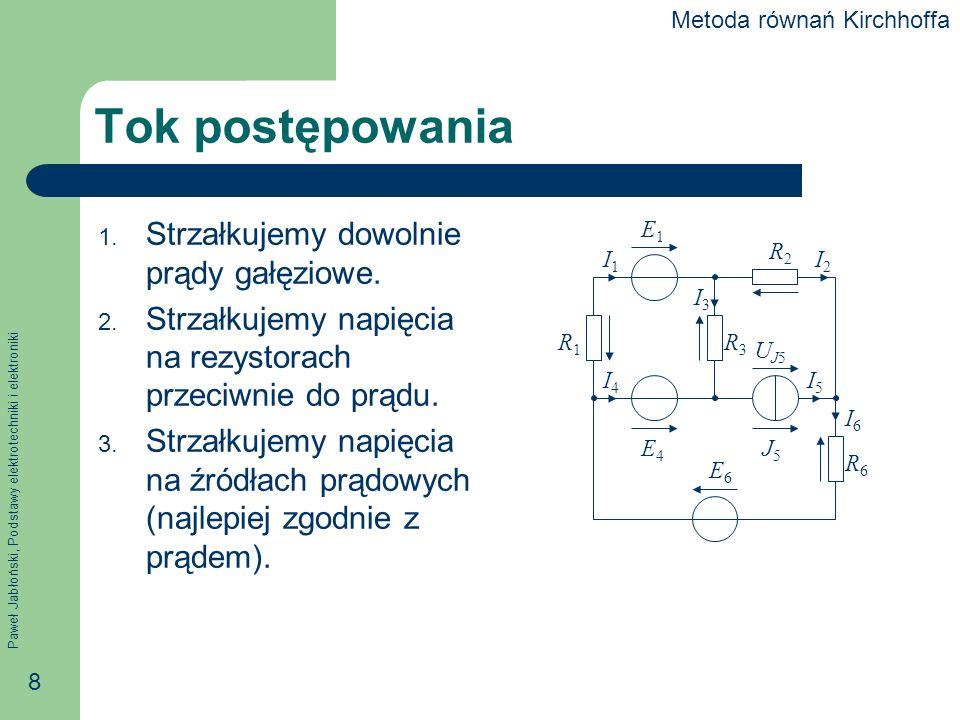 Paweł Jabłoński, Podstawy elektrotechniki i elektroniki 29 Potencjały węzłowe Przypomnienie: napięcie U AB między dwoma punktami A i B jest różnicą ich potencjałów Każdy punkt w obwodzie ma pewien potencjał, a w szczególności – każdy węzeł ma pewien potencjał.