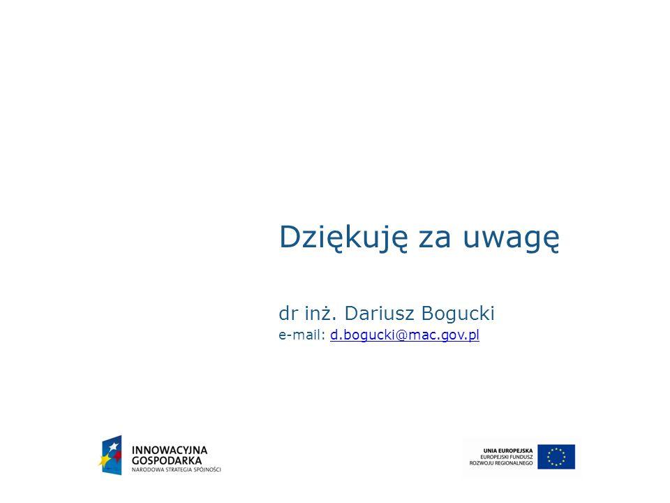 Dziękuję za uwagę dr inż. Dariusz Bogucki e-mail: d.bogucki@mac.gov.pld.bogucki@mac.gov.pl