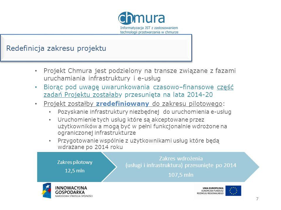 Projekt Chmura jest podzielony na transze związane z fazami uruchamiania infrastruktury i e-usług Biorąc pod uwagę uwarunkowania czasowo–finansowe czę