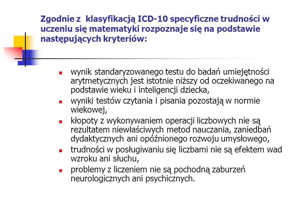 Zgodnie z klasyfikacją ICD-10 specyficzne trudności w uczeniu się matematyki rozpoznaje się na podstawie następujących kryteriów: wynik standaryzowane