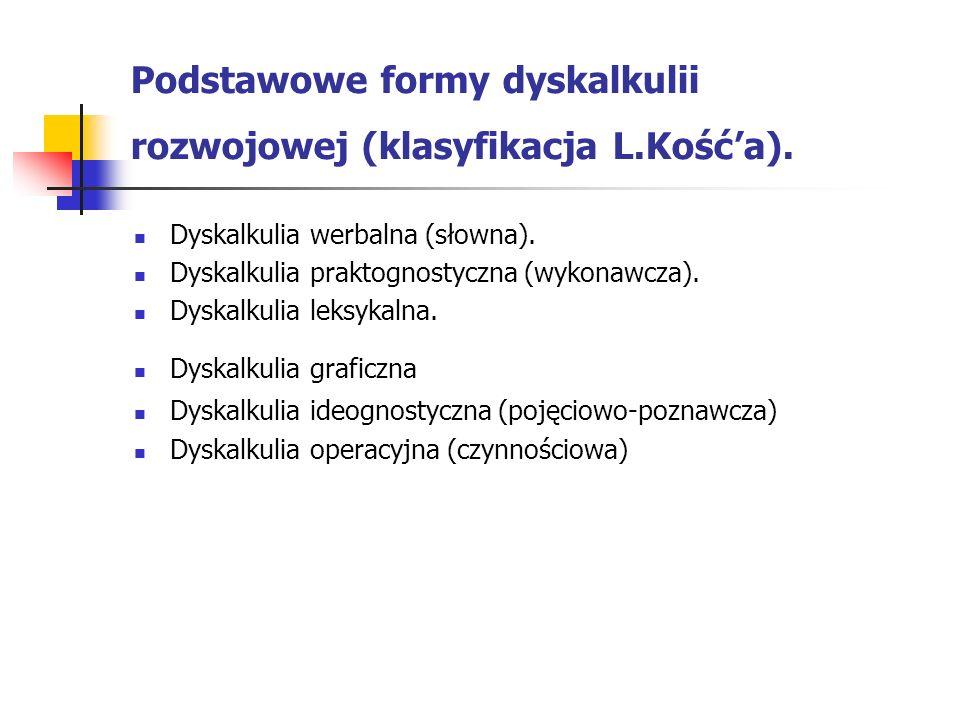 Podstawowe formy dyskalkulii rozwojowej (klasyfikacja L.Kośća). Dyskalkulia werbalna (słowna). Dyskalkulia praktognostyczna (wykonawcza). Dyskalkulia