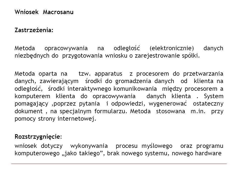 Wniosek Macrosanu Zastrzeżenia: Metoda opracowywania na odległość (elektronicznie) danych niezbędnych do przygotowania wniosku o zarejestrowanie spółk