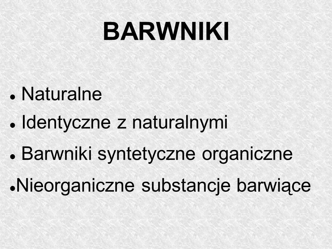 Naturalne Identyczne z naturalnymi Barwniki syntetyczne organiczne Nieorganiczne substancje barwiące BARWNIKI