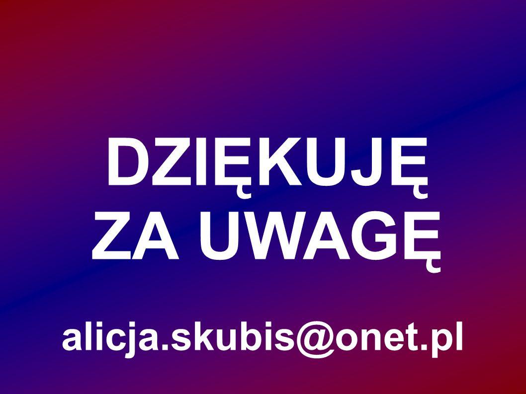DZIĘKUJĘ ZA UWAGĘ alicja.skubis@onet.pl