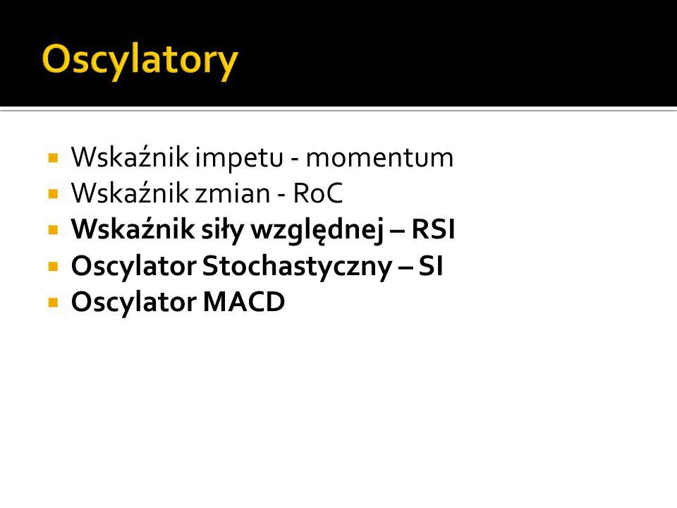 Wskaźnik impetu - momentum Wskaźnik zmian - RoC Wskaźnik siły względnej – RSI Oscylator Stochastyczny – SI Oscylator MACD