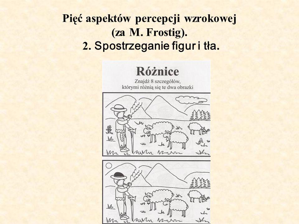 Pięć aspektów percepcji wzrokowej (za M. Frostig). 2. Spostrzeganie figur i tła.