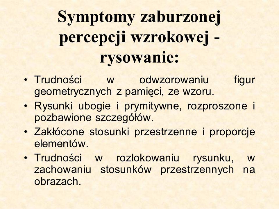 Symptomy zaburzonej percepcji wzrokowej - rysowanie: Trudności w odwzorowaniu figur geometrycznych z pamięci, ze wzoru. Rysunki ubogie i prymitywne, r